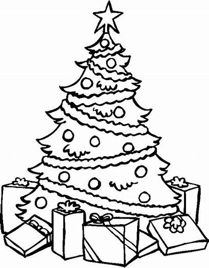 Christmas Coloring Tree Pages Presents Merry