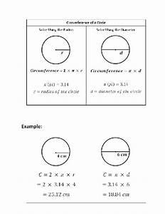 Circumference Of A Circle Cheat Sheet