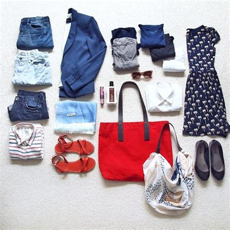 traveling light in summer with white and blue capsule travel style clothing