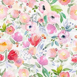 Watercolor floral botanical pattern and seamless
