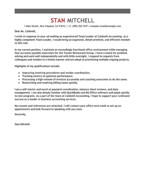 Best Management Team Lead Cover Letter Examples | LiveCareer