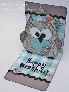 owl pop up card template the 38 best sizzix owl cards images on owl