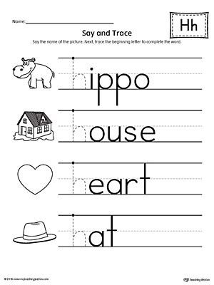 letter h worksheets say and trace letter h beginning sound words worksheet 49960