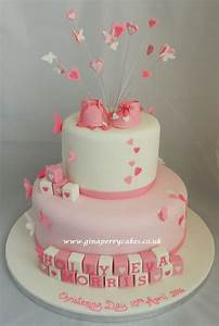 Baby Dedication Cake Designs Christening Cake For A Baby Girl Withbutterflies Hearts