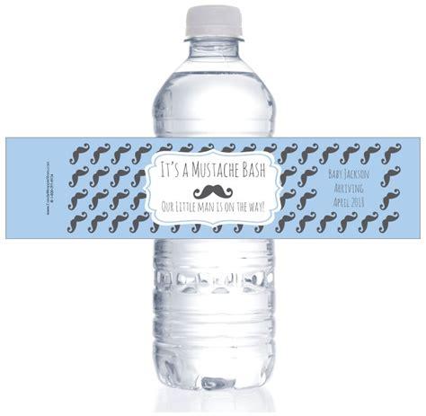 Mustache Bash Baby Shower Water Bottle Labels