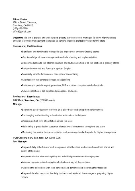 grocery store manager resume templates