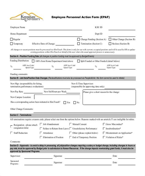 personnel action form 9 sle employee form 9 free documents in pdf doc