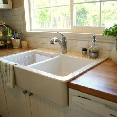 farmhouse sink  butcher block countertop ikea