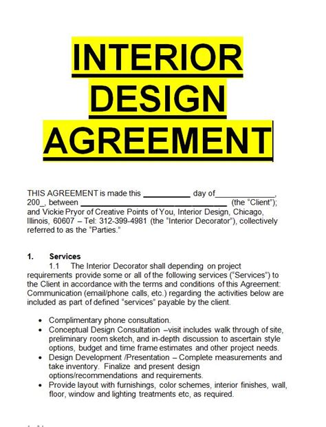 interior design agreement template sample letters