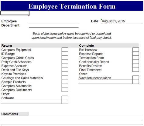 employee termination template employee termination form my excel templates