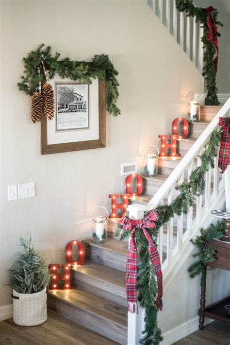 christmas stairs decorations ideas  pinterest