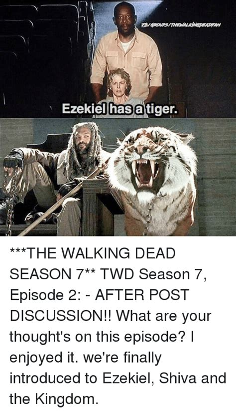 Walking Dead Season 7 Memes - ezekiel has a tiger the walking dead season 7 twd season 7 episode 2 after post