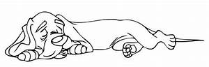 Sleeping dog clipart black and white