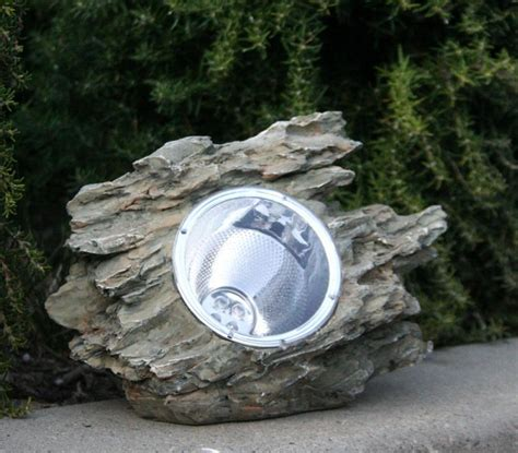 garden rock with solar powered light