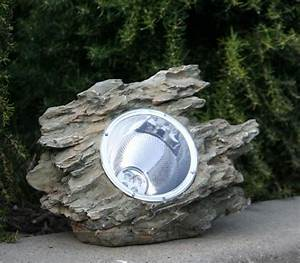 natural garden rock with solar powered light With outdoor solar lights rocks
