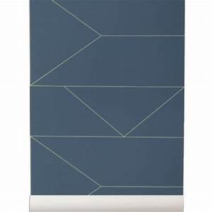 Papier Peint Bleu Foncé : papier peint ferm living lines papier peint bleu fonc et dor ~ Melissatoandfro.com Idées de Décoration