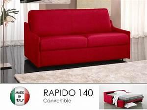 Canapé Rouge Convertible : canape lit 3 places luna convertible ouverture rapido 140cm cuir eco rouge ~ Teatrodelosmanantiales.com Idées de Décoration