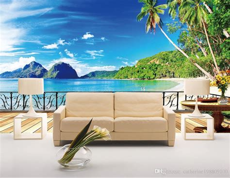Luxury European Modern Beach Terrace Scenery Tv Background