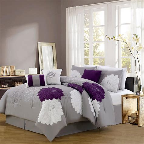 Grey And Purple Comforter & Bedding Sets