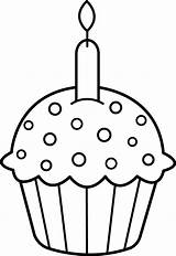 Coloring Clip Cupcake Clipart Pages Birthday Printable Punch Silly sketch template