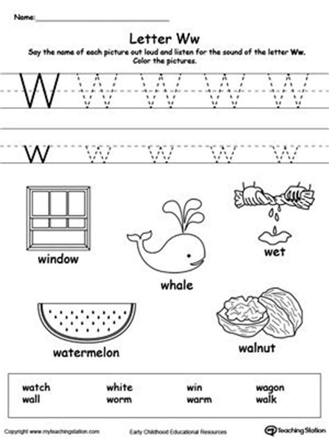 words starting with letter w kindergarten activities letter w worksheets alphabet tracing