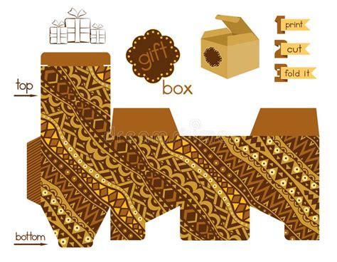 printable gift box  abstract tribal pattern stock
