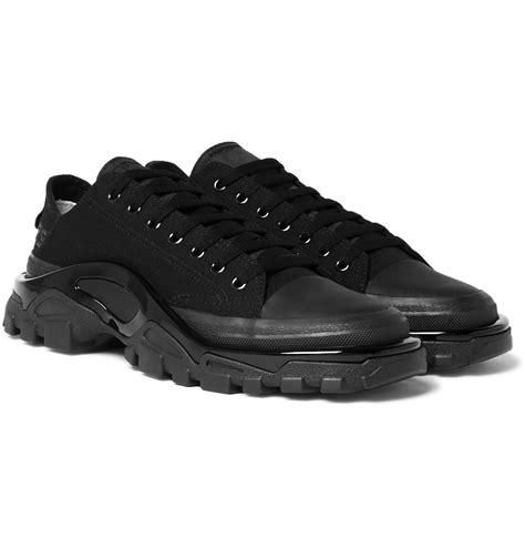 raf simons adidas  runner canvas sneakers  black
