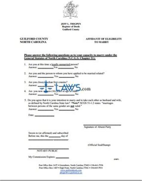 form affidavit  eligibility  marry north carolina