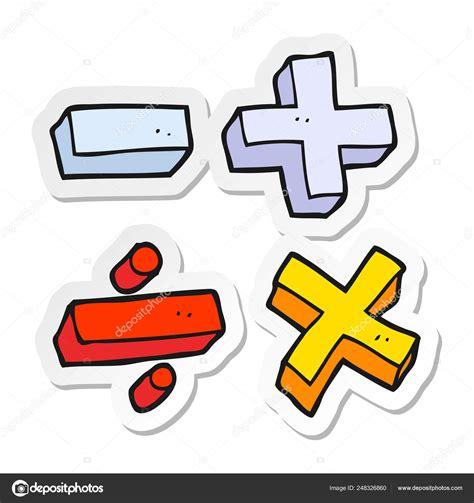 Etiqueta Engomada Símbolos Matemáticas Dibujos Animados