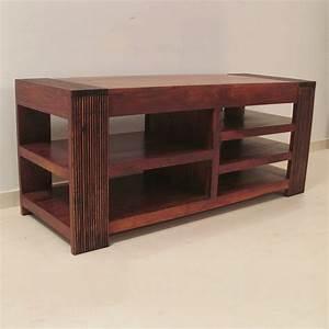 Meuble Tv Ethnique : meuble tv ethnique bois exotique table de lit a roulettes ~ Teatrodelosmanantiales.com Idées de Décoration