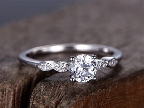 5mm cut cz engagement ring 925 sterling silver wedding band white gold plated simple and