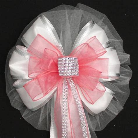 coral bling  white sparkle wedding pew bows package