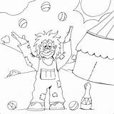 Clown Colouring Juggling Pages Coloring Happy Circus Clowns Juggler sketch template