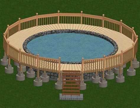 build  deck    ground pool patio designs