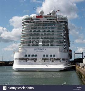 The Britannia cruise ship viewed from the stern alongside ...