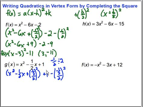 write the function in vertex form writing quadratic functions in vertex form by completing