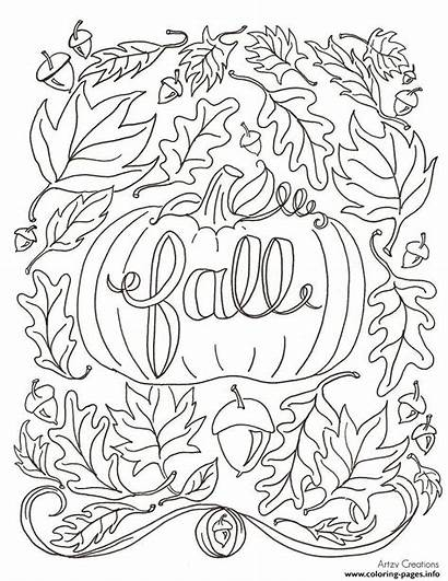 Coloring Autumn Pages Fall Printable