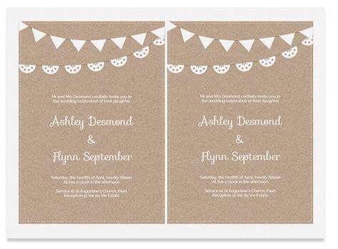 printable wedding invitation template kraft paper