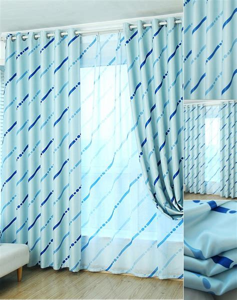 bright baby blue striped curtain with blackout fabric
