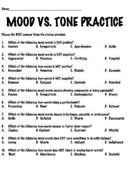 mood and tone tutorial reading comprehension worksheet