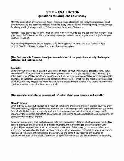 Evaluation Self Template Essay Examples Sample Student