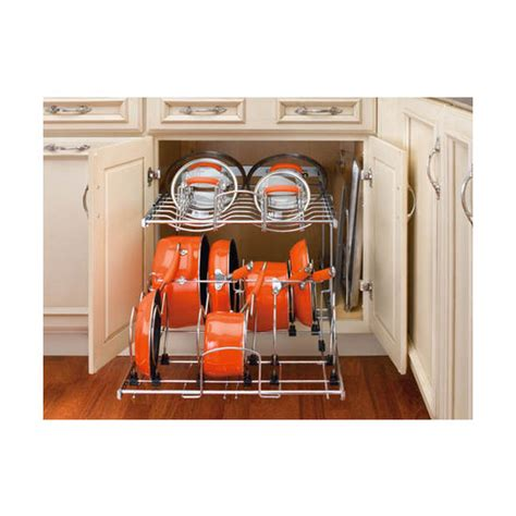 pots and pans rack cabinet two tier pots pans and lids organizer for kitchen cabinet