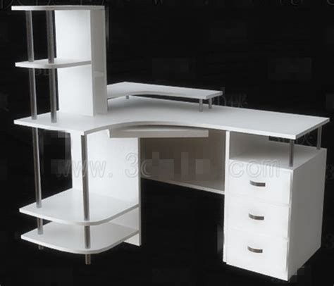 bureau simple blanc simple bureau d 39 ordinateur blanc 3d model free 3d