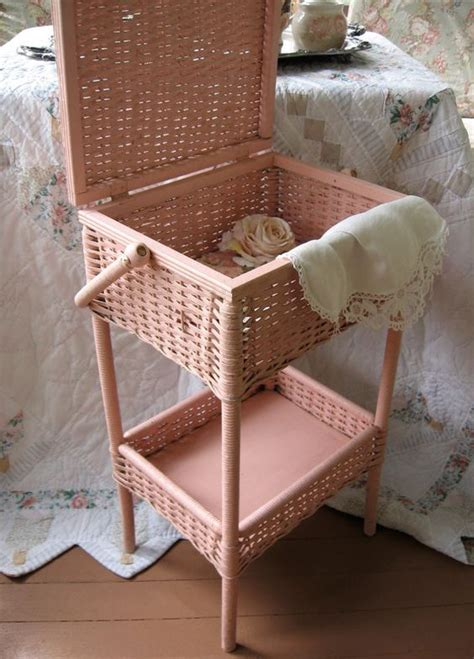 shabby chic sewing box antique sewing basket heywood wakefield wicker shabby chic pink nursery decor shabby chic