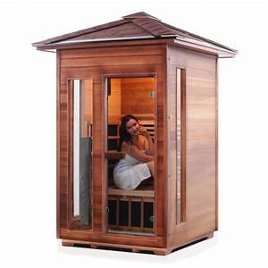 2 person outdoor infrared sauna rustic series