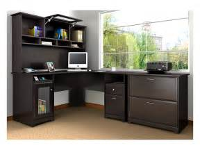 amazon com bush furniture cabot l desk with hutch and