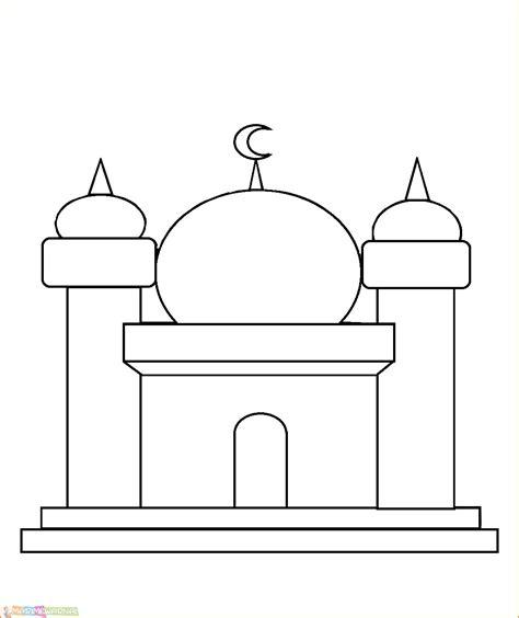 gambar mewarnai masjid untuk anak tk