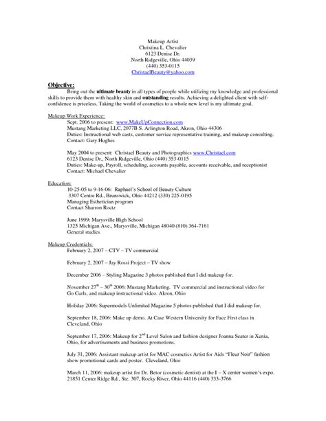 Mac Cosmetic Resume Exles by 10 Makeup Artist Resume Exles Sle Resumes Sle