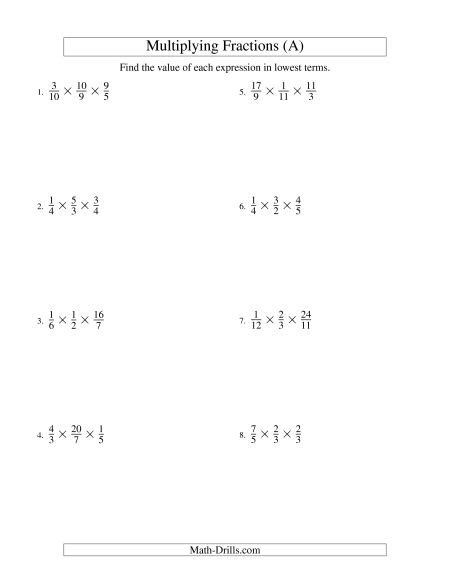 multiplying and simplifying proper and improper fractions