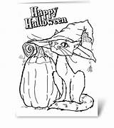 Halloween Cards Card Greeting Coloring Gnome sketch template